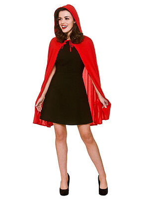 Adult Short Ladies Soft Little Red Riding Hood Cape & Hood Cloak Fancy Dress