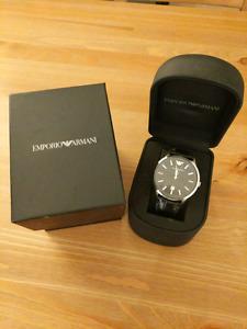 Armani classic mens black leather watch