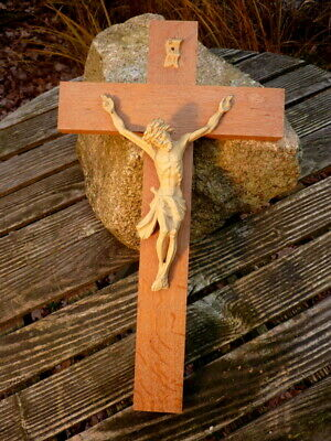 Old Wall cross Crucifix 40 cm Solid Wood Jesus Christ Collector's Item