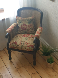 Antique French-style Bergere cane tub chair. Newly re-upholstered