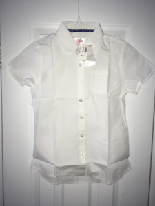 NEW JUSTICE GIRL'S BUTTON UP SHIRT 12 White