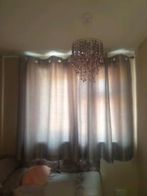 Silver silk curtains