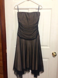 Brown, Strapless Dress With Mesh Overlay for Sale (size M)