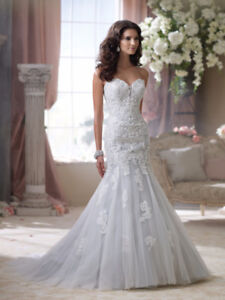 "DAVID TUTERA ""hint of blue"" trumpet style WEDDING GOWN"