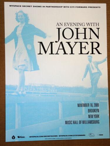 JOHN MAYER - 2009 - BLUE - MUSIC HALL WILLIAMSBURG - MYSPACE SECRET SHOW POSTER