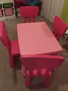 IKEA pink tables and 4 chairs
