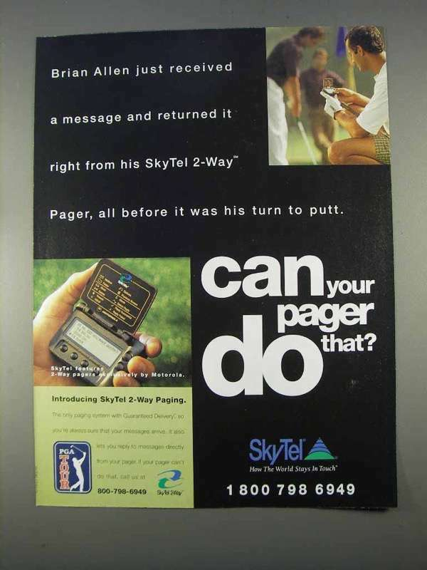 1996 SkyTel 2-Way Pager Ad - Brian Allen Received