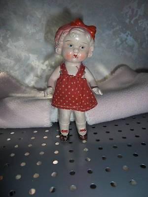 """Japan ~ Vintage Bisque Frozen Charlotte Little Girl Doll 5 1/2"""""""