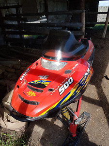 Polaris 500 xc liquid cooled snowmobile and 2012 kandi dune bugy