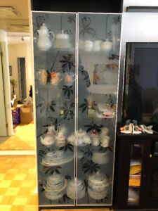 IKEA bookcases with tempered glass doors.