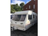 Lunar Solar 505 5 Berth Caravan Light Weight Rear End Double Bedroom Full Awning
