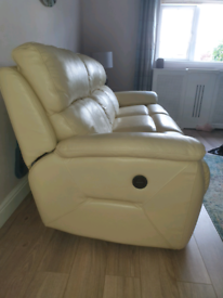 2 x 3seater cream leather electric recliner sofas