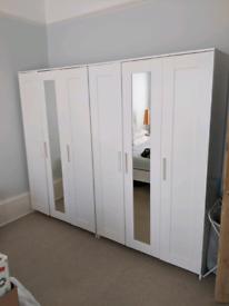 IKEA BRIMNES Mirrored Triple Wardrobe in White, 2 available
