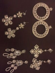 4 Pairs of Sparkling Earings