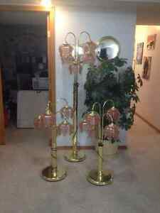Three piece floor and table lamps