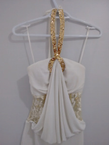 White dress with golden beads xs-s (0-2-4)