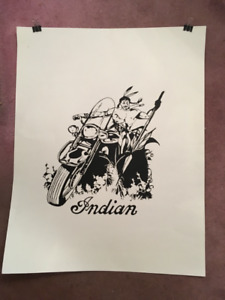 INDIAN Motorbike / cycle poster ..Indian Biker ...Silhouette