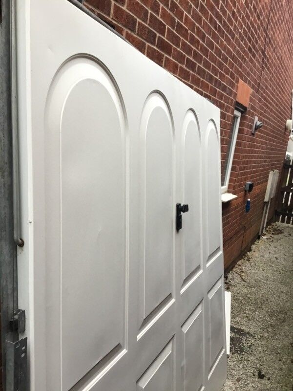 Standard up and over white coloured garage door