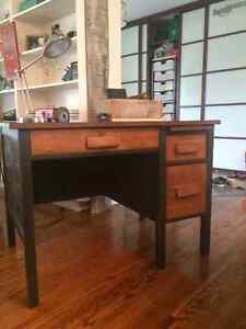 Industrial style solid wood desk