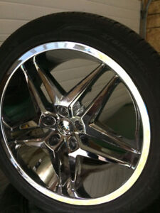 "20"" Chrome Dub Wheels , 5x108 bolt pattern , 275/40/20 tires"