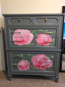 Refinished 5 Drawer Tall Dresser