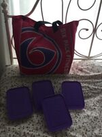 6 pack fitness bag with Tupperware