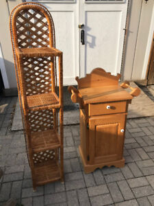 hutch and wicker stands