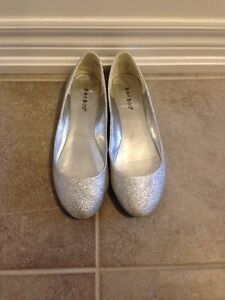 Silver sparkle flats size 7.5 perfect for under a wedding dress!