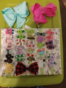 Children's hair clips and clip holder.