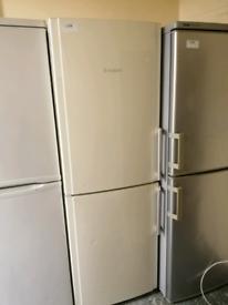 Hotpoint cream Fridge freezer with warranty at Recyk Appliances