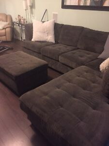 Large sectional with chaise lounge and ottomen Peterborough Peterborough Area image 1