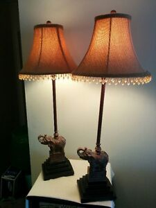 2 TABLE LAMPS-EXOTIC ELEPHANTS AND CRYSTAL BEADS