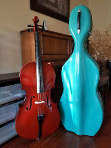 CELLO + BLUE HARD CASE FOR SALE