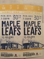 Toronto Maple leafs vs Oilers 2 tickets Golds $200 ea