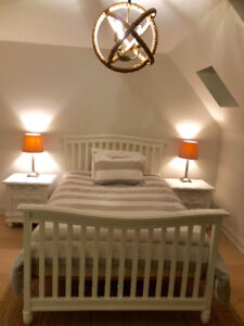 White Solid Wood Double Bed Frame (Pali)
