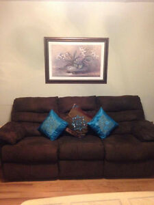 Suede Couch set with free tables and portrait London Ontario image 1