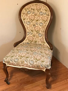 ANTIQUE Vintage Mahogany Damask slipper Chair, over 100 yrs old