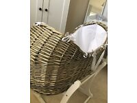 Natural wicker Moses basket! Optional with or without stand.