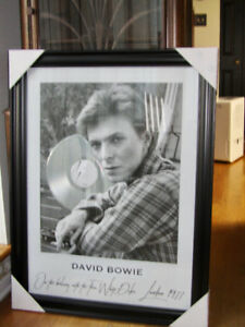David Bowie polaroid print with platinum LP