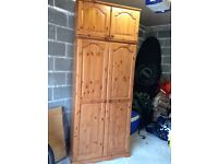 Pine double wardrobe with blanket box