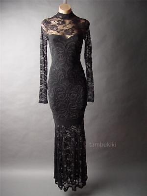 Victorian Lace Gown (Black Lace High Neck Victorian Gothic Ball Mermaid Gown 236 mv Dress 1XL 2XL 3XL )