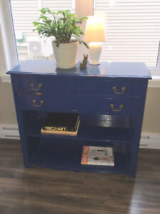 Vintage Shabby Chic Blue Painted Bookcase Console Buffet Dresser