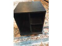 Small black wood effect storage unit