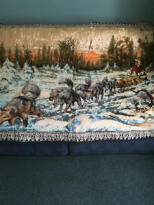 WALL TAPESTRY DEER AND LARGE SLED DOGS!!!