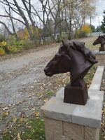 Cast Iron Horse Head Statue, very heavy, 2 feet tall $450each
