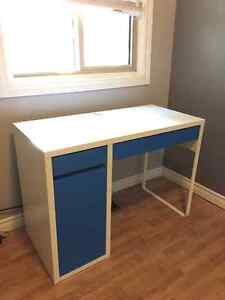 White and Blue Desk with Built In Drawer and Storage Unit