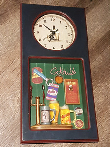 Clock with Beer Themed Shadow Box Wall Decor