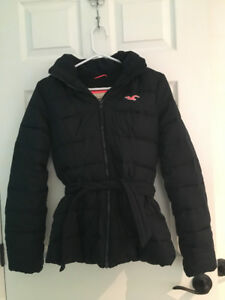 Navy Blue Lined Winter Jacket from Hollister