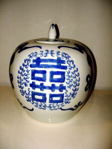 CHINESE BLUE & WHITE GINGER JAR double happiness symbols LARGE Kitchener / Waterloo Kitchener Area image 4