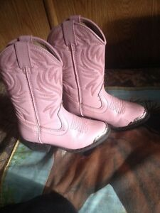 Toddler boots: pink size 9, brown size 8